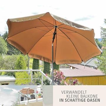 Sonnenschirm Balkon – Verwandelt kleine Balkone in schattige Oasen – Kleiner Sonnenschirm mit UV-Schutz, knickbar, höhenverstellbar - Ø 2 m, rund - 3