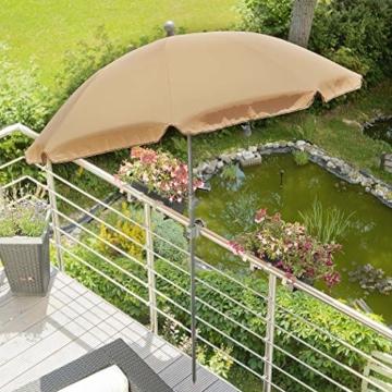 Sonnenschirm Balkon – Verwandelt kleine Balkone in schattige Oasen – Kleiner Sonnenschirm mit UV-Schutz, knickbar, höhenverstellbar - Ø 2 m, rund - 6