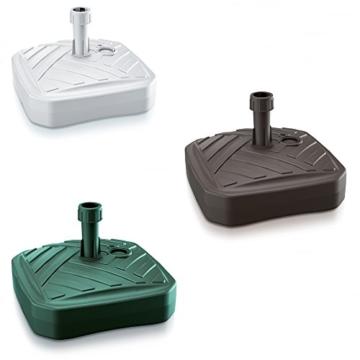 Sonnenschirmständer Schirmständer Ständer Schirmhalter Quadratisch Rattanoptik oder Board Design 12 L 4 Farben wählbar von rg-vertrieb (Board Quadrat Grün) - 6
