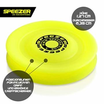 SPEEZER Mini Frisbee – die neon gelbe Wurfscheibe ist der Outdoor Fun Sport Spaß für alle – klein u. soft passt die smarte Flugscheibe in jede Hosentasche u. ist das Wurfspiel für Kinder o. Profis - 2