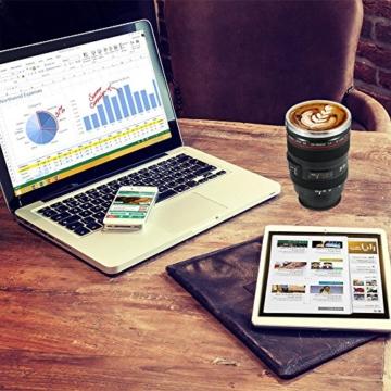 Splend Kaffeetasse mit Löffel, Kamera-Objektiv-Kaffeetassen Becher Tasse mit Deckel-Edelstahl-Trommel-Schale Auslaufsicherer Breiter Mund für Kaffee-Milch-Tee, Ideales Geschenk Cano EF24-105mm f/4l - 3