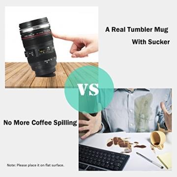 Splend Kaffeetasse mit Löffel, Kamera-Objektiv-Kaffeetassen Becher Tasse mit Deckel-Edelstahl-Trommel-Schale Auslaufsicherer Breiter Mund für Kaffee-Milch-Tee, Ideales Geschenk Cano EF24-105mm f/4l - 5