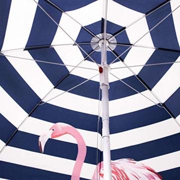 SPRINGOS Sonnenschirm Strandschirm mit Kippfunktion Gartenschirm mit Flamingos (Weiß/Marineblau) - 11