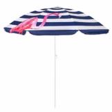 SPRINGOS Sonnenschirm Strandschirm mit Kippfunktion Gartenschirm mit Flamingos (Weiß/Marineblau) - 1