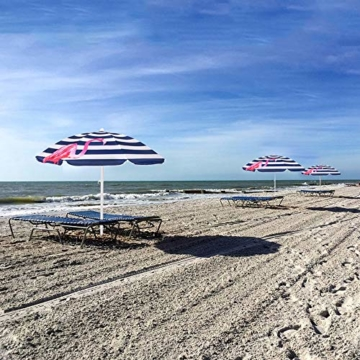 SPRINGOS Sonnenschirm Strandschirm mit Kippfunktion Gartenschirm mit Flamingos (Weiß/Marineblau) - 4