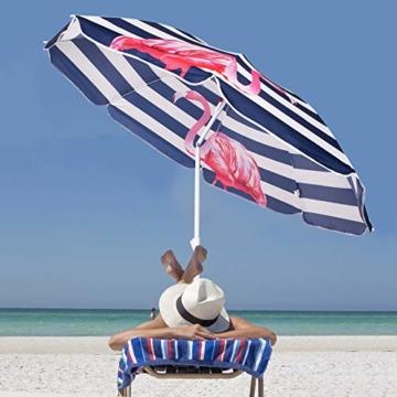 SPRINGOS Sonnenschirm Strandschirm mit Kippfunktion Gartenschirm mit Flamingos (Weiß/Marineblau) - 5