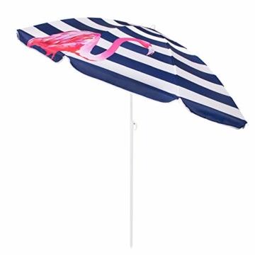 SPRINGOS Sonnenschirm Strandschirm mit Kippfunktion Gartenschirm mit Flamingos (Weiß/Marineblau) - 7