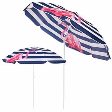 SPRINGOS Sonnenschirm Strandschirm mit Kippfunktion Gartenschirm mit Flamingos (Weiß/Marineblau) - 8