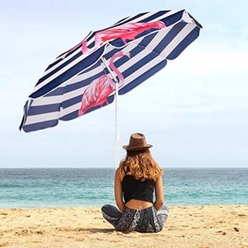 SPRINGOS Sonnenschirm Strandschirm mit Kippfunktion Gartenschirm mit Flamingos (Weiß/Marineblau) - 9