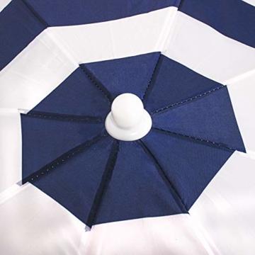 SPRINGOS Sonnenschirm Strandschirm mit Kippfunktion Gartenschirm mit Flamingos (Weiß/Marineblau) - 10