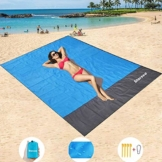 """STARSEA Tragbare Picknickdecke Stranddecke Wasserdicht 83""""x 78""""(200 * 210cm) für den Strand, Campen, Wandern und Ausflüge,wasserdichte Picknickmatte mit 4 Befestigung Ecken(blau) - 1"""