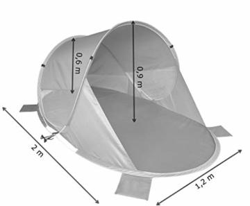 Strandmuschel Pop Up Strandzelt Dunkel- + Hellblau Polyester blitzschneller Aufbau Wetter- und Sichtschutz Duhome 5068 - 3