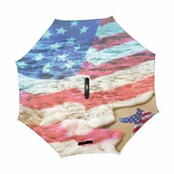 Strandschirm mit amerikanischer Flagge, wendbar, für Damen und Herren, Reisen, winddicht, Golf, regenfest, doppellagig - 3