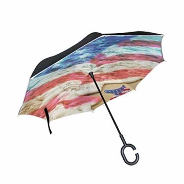 Strandschirm mit amerikanischer Flagge, wendbar, für Damen und Herren, Reisen, winddicht, Golf, regenfest, doppellagig - 1