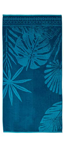 Strandtuch, Strandtücher 90x180 cm Baumwolle Frottee Velours Badetuch, Badetücher Blatt Blau - 2