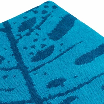 Strandtuch, Strandtücher 90x180 cm Baumwolle Frottee Velours Badetuch, Badetücher Blatt Blau - 5