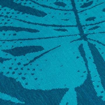 Strandtuch, Strandtücher 90x180 cm Baumwolle Frottee Velours Badetuch, Badetücher Blatt Blau - 7