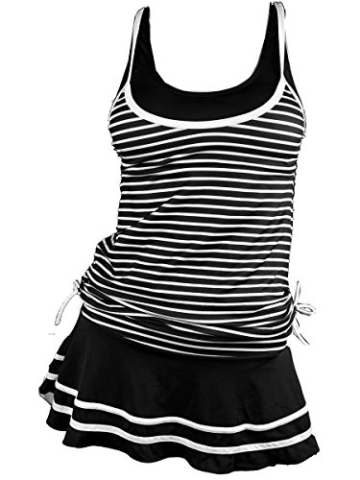 Summer Mae Damen Tankini Retro Streifen Badekleider Schwarz Gestreift 2XL - 1
