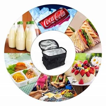 Sunshine smile Kühltasche Faltbar,Picknicktasche Kühltasche,Thermotasche Klein,Isoliertasche Lunch,Kühltasche Eistasche,Lunch Tasche,Kühlbox für Picknick (schwarz) - 4