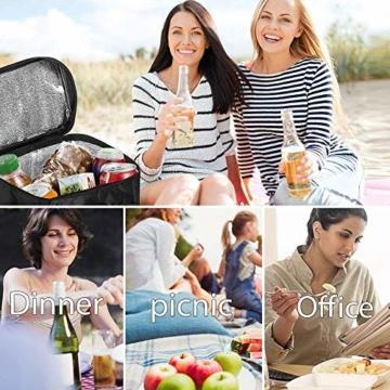 Sunshine smile Kühltasche Faltbar,Picknicktasche Kühltasche,Thermotasche Klein,Isoliertasche Lunch,Kühltasche Eistasche,Lunch Tasche,Kühlbox für Picknick (schwarz) - 7