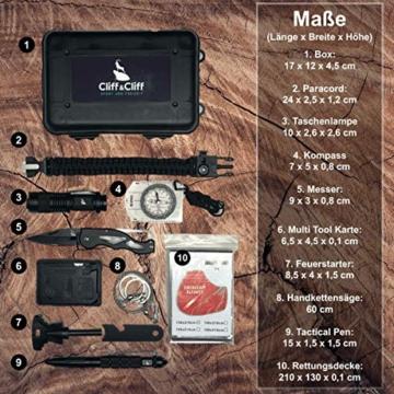 Survival Kit Vergleichssieger 2020* mit 2 eBooks - über 7.000 zufriedene Kunden - Dein perfektes Set fürs Campen oder Wandern mit Klappmesser, Paracord Armband, Taschenlampe und weiterem Zubehör - 2