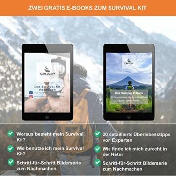 Survival Kit Vergleichssieger 2020* mit 2 eBooks - über 7.000 zufriedene Kunden - Dein perfektes Set fürs Campen oder Wandern mit Klappmesser, Paracord Armband, Taschenlampe und weiterem Zubehör - 4