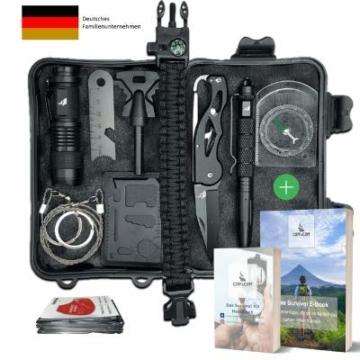 Survival Kit Vergleichssieger 2020* mit 2 eBooks - über 7.000 zufriedene Kunden - Dein perfektes Set fürs Campen oder Wandern mit Klappmesser, Paracord Armband, Taschenlampe und weiterem Zubehör - 1