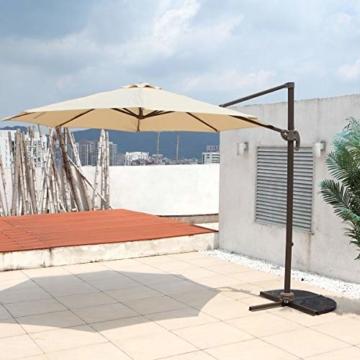 SVITA Sonnenschirm 3m grau beige orange Taupe Durchmesser Garten Ampelschirm Outdoor 360° Schirm Alu drehbar kippbar (Beige) - 2