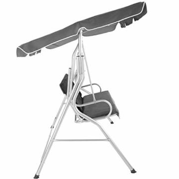 TecTake 3 Sitzer Hollywoodschaukel Gartenschaukel mit Sonnendach, witterungsbeständig, stabiles Stahlrohrgestell - Diverse Farben - (Grau | Nr. 402576) - 2