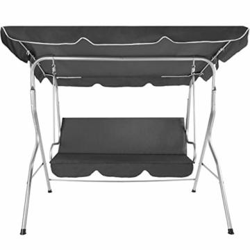 TecTake 3 Sitzer Hollywoodschaukel Gartenschaukel mit Sonnendach, witterungsbeständig, stabiles Stahlrohrgestell - Diverse Farben - (Grau | Nr. 402576) - 4