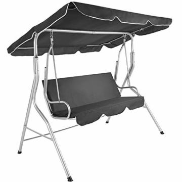 TecTake 3 Sitzer Hollywoodschaukel Gartenschaukel mit Sonnendach, witterungsbeständig, stabiles Stahlrohrgestell - Diverse Farben - (Grau | Nr. 402576) - 1