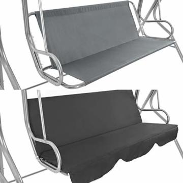 TecTake 3 Sitzer Hollywoodschaukel Gartenschaukel mit Sonnendach, witterungsbeständig, stabiles Stahlrohrgestell - Diverse Farben - (Grau | Nr. 402576) - 5