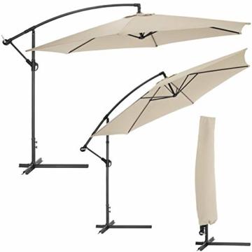 TecTake 800033 Sonnenschirm Ampelschirm mit Gestell + UV Schutz 350cm + Schutzhülle - Diverse Farben - (Beige | Nr. 400622) - 2