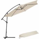 TecTake 800033 Sonnenschirm Ampelschirm mit Gestell + UV Schutz 350cm + Schutzhülle - Diverse Farben - (Beige | Nr. 400622) - 1