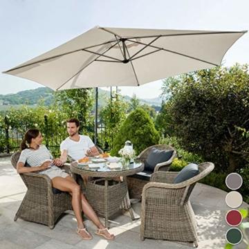 TecTake 800033 Sonnenschirm Ampelschirm mit Gestell + UV Schutz 350cm + Schutzhülle - Diverse Farben - (Beige | Nr. 400622) - 3