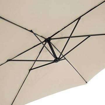 TecTake 800033 Sonnenschirm Ampelschirm mit Gestell + UV Schutz 350cm + Schutzhülle - Diverse Farben - (Beige | Nr. 400622) - 8