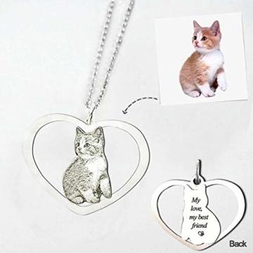 TheBigThumb Kreative Foto Halskette personalisierte benutzerdefinierte Anhänger in Sterling Silber Gutes Geschenk für Familie, Freunde und Haustiere Memorial Geschenk - 3
