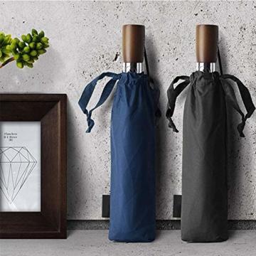 TMXWHYQ Regenschirme, automatisch klappbare Doppel-Sonnenschirme mit zehn Knochen, mit Regen- und windabweisendem UV-Schutz Robuster tragbarer Regenschirm, Holzgriff, für Männer,A - 2