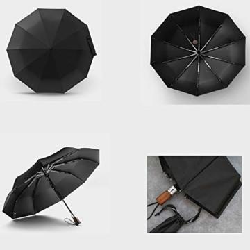 TMXWHYQ Regenschirme, automatisch klappbare Doppel-Sonnenschirme mit zehn Knochen, mit Regen- und windabweisendem UV-Schutz Robuster tragbarer Regenschirm, Holzgriff, für Männer,A - 3