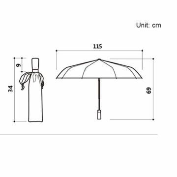 TMXWHYQ Regenschirme, automatisch klappbare Doppel-Sonnenschirme mit zehn Knochen, mit Regen- und windabweisendem UV-Schutz Robuster tragbarer Regenschirm, Holzgriff, für Männer,A - 4