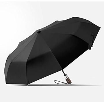 TMXWHYQ Regenschirme, automatisch klappbare Doppel-Sonnenschirme mit zehn Knochen, mit Regen- und windabweisendem UV-Schutz Robuster tragbarer Regenschirm, Holzgriff, für Männer,A - 1
