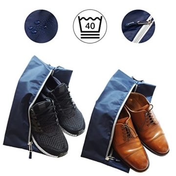 TRAVANDO ® Schuhtasche 2er Set - Wasserfeste Schuhbeutel Reise, Koffer, Gepäck - Schmutzabweisender Schuhsack Reise für Schuhe, Urlaub Shoebag Tasche zur Trennung von Schuhen und Kleidung Reisezubehör - 2