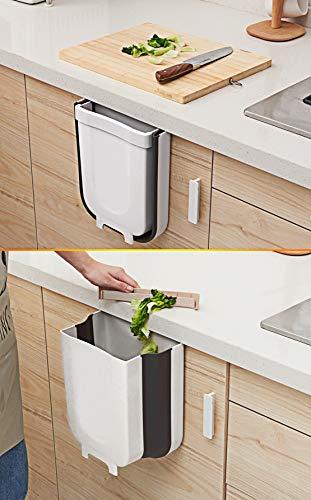 TTMOW Mülleimer Küche Faltbare, Neue Generation 9L Abfalleimer Küche Für Schranktür (Weiß) - 4