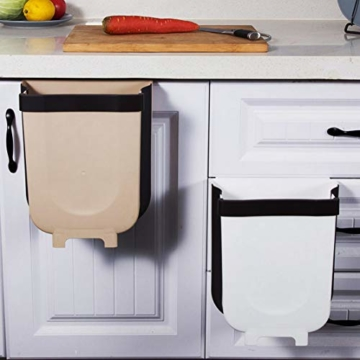 TTMOW Mülleimer Küche Faltbare, Neue Generation 9L Abfalleimer Küche Für Schranktür (Weiß) - 6