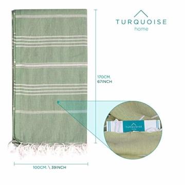 Turquoise Home - Großes türkisches Pestemal Badetuch – Hamamtuch – XXL-Badetuch 175 x 100 cm – Saunatuch (olivgrün, 1) - 4
