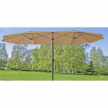 Unbekannt VARILANDO® Doppel-Sonnenschirm in hellem braun 460 cm Sonnenschutz Schattenspender Parasol - 1