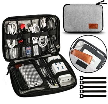 UNEEDE Kable Organizer Tasche Electronic Kabeltasche Zubehör Reisetasche Kable Aufbewahrung Handtasche Organizer Klein Travel mit 5 Kabelindern -Grey - 1