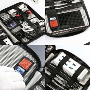 UNEEDE Kable Organizer Tasche Electronic Kabeltasche Zubehör Reisetasche Kable Aufbewahrung Handtasche Organizer Klein Travel mit 5 Kabelindern -Grey - 6