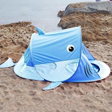 UPF 50+ Pop Up Strandzelt, Sonnenschutz, winddichter wasserdichter Familien-Strandschirm, tragbares Hai-Strandzelt, Instant Sunshade Cabana-Baldachin mit Tragetasche - 2