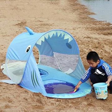 UPF 50+ Pop Up Strandzelt, Sonnenschutz, winddichter wasserdichter Familien-Strandschirm, tragbares Hai-Strandzelt, Instant Sunshade Cabana-Baldachin mit Tragetasche - 5